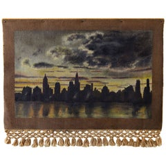 1940 Oil on Weave New York City Skyscraper Painting Attributed to Frank Ashley