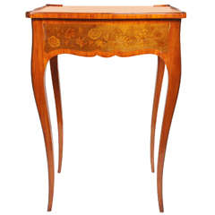 19th Century French Single Drawer Inlaid Side Table