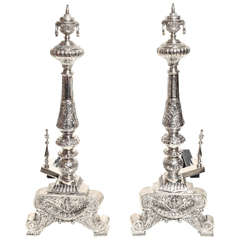 19th C Regency Silver Andirons