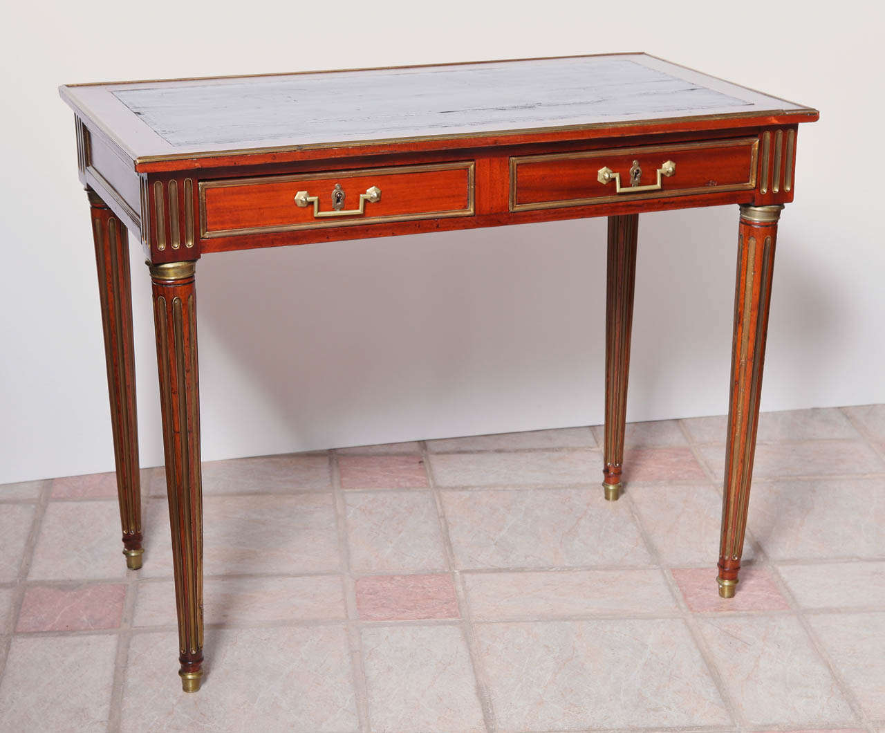 19th C Russian Leather Topped Writing Desk With Hand Hammered Brass Details