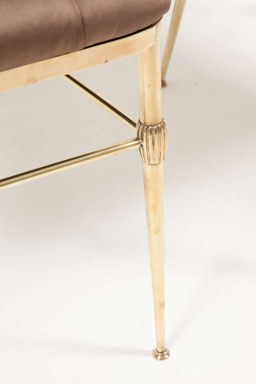 Mid-20th Century Pair of Brass Chairs, C 1950, Silk Upholstery, Italy For Sale