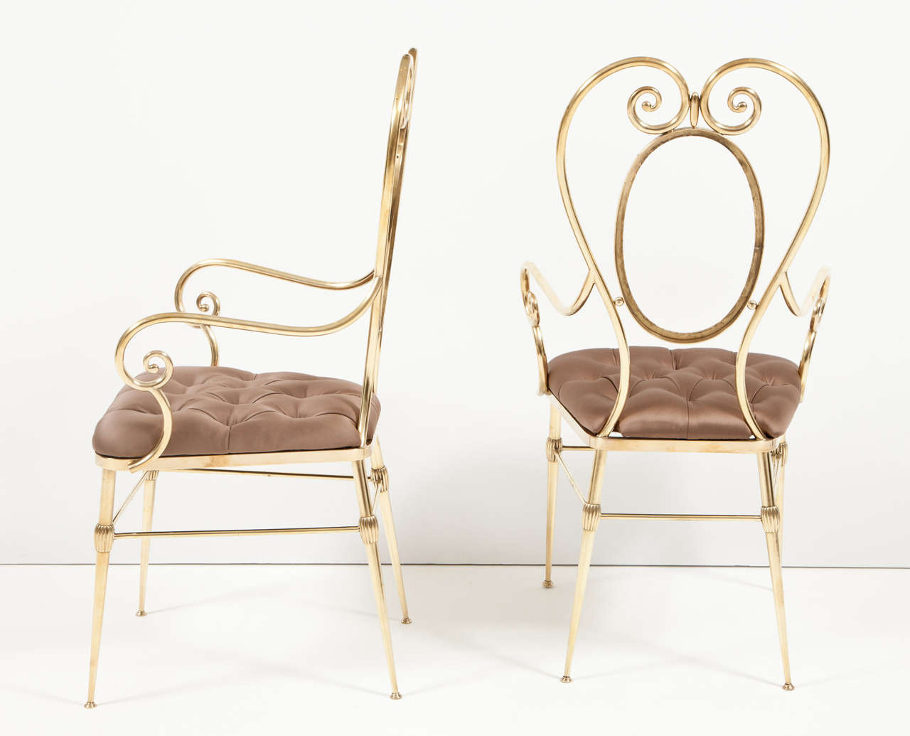 Pair of Brass Chairs, C 1950, Silk Upholstery, Italy For Sale 1