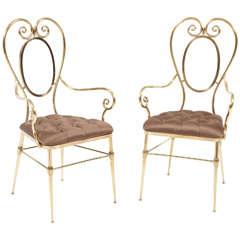 Chairs, Brass, Pair