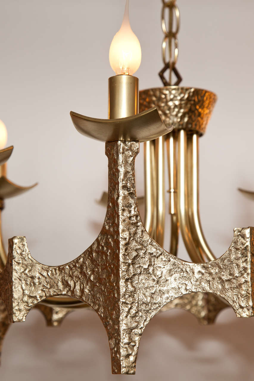 Italian Chandelier, Brutalist, Brass, Italy, circa 1950 For Sale