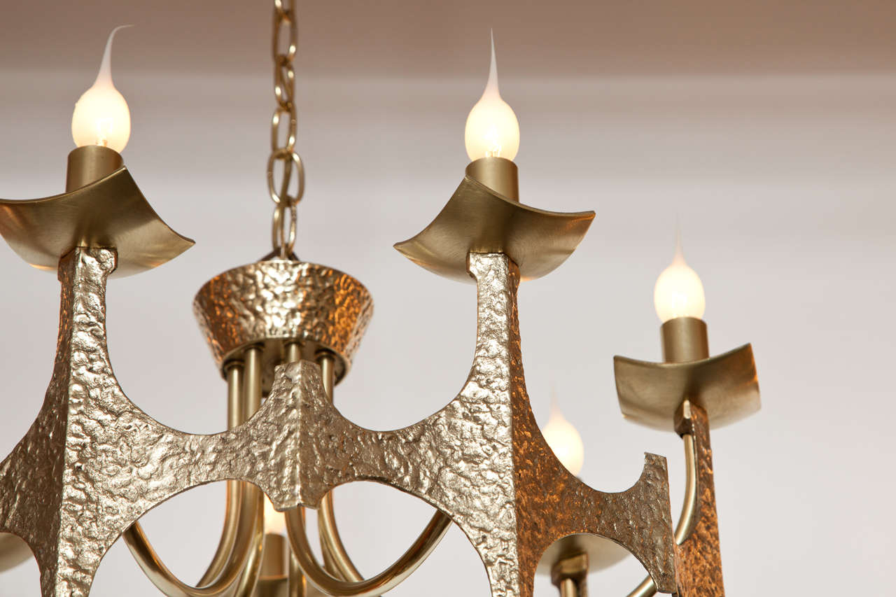 Hand-Crafted Chandelier, Brutalist, Brass, Italy, circa 1950 For Sale