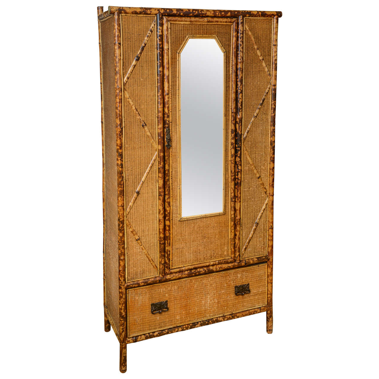 19th century english bamboo and rattan armoire at 1stdibs. Black Bedroom Furniture Sets. Home Design Ideas