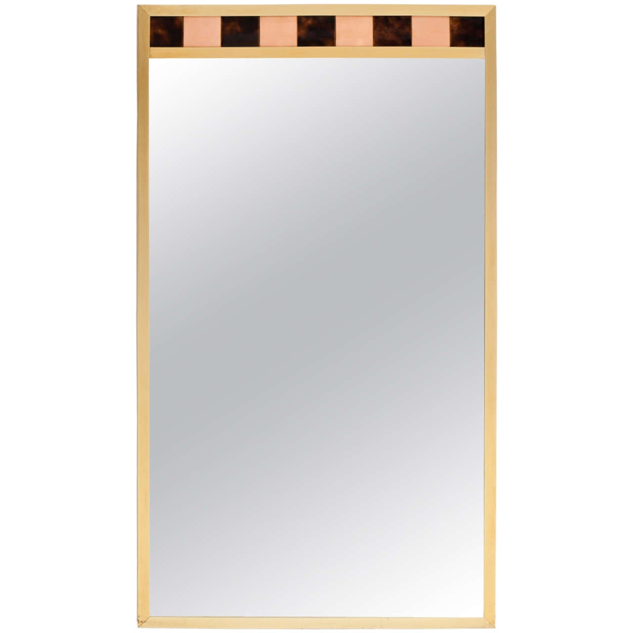 Brass Framed Mirror with Ceramic Tile Detail