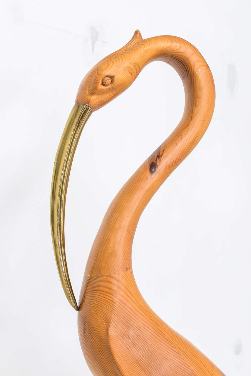 Large Brass And Wood Bird Sculpture At 1stdibs