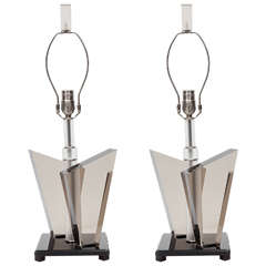 Pair of Smoked Lucite Lamps by Van Teal