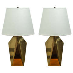 Pair of Faceted Table Lamps in Unlacquered Brass