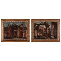 Italian painter, Architectural capriccio (pair), oil on canvas, 18th Century