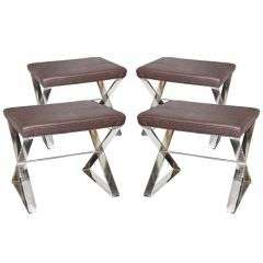 Two Pairs of X-Stretched Stools by Milo Baughman for Thayer Coggin