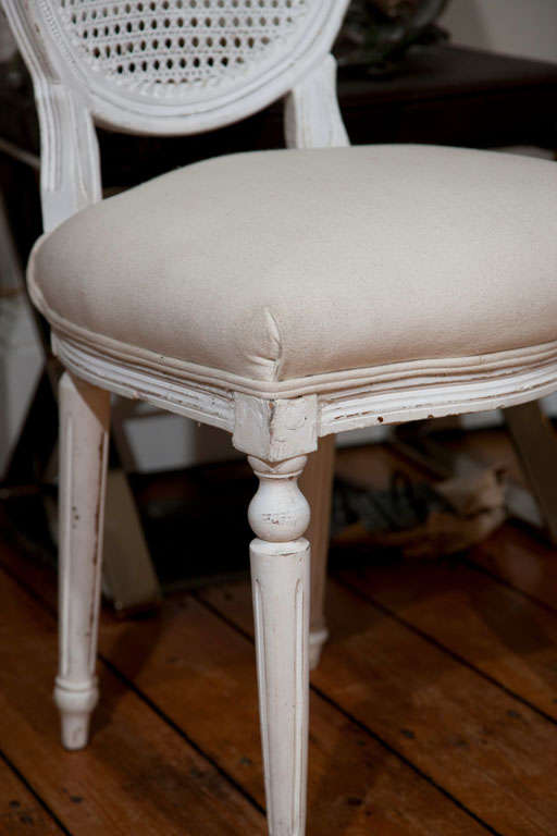 French Six Louis XVI Style Painted Dining Chairs with Caned Backs For Sale