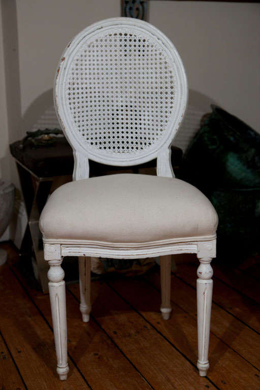Hand-Crafted Six Louis XVI Style Painted Dining Chairs with Caned Backs For Sale
