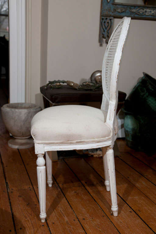 Six Louis XVI Style Painted Dining Chairs with Caned Backs In Good Condition For Sale In Woodbury, CT