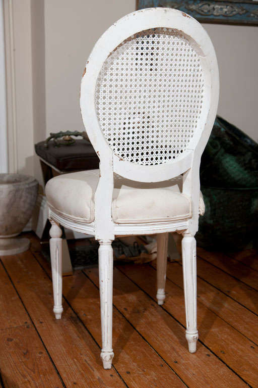 20th Century Six Louis XVI Style Painted Dining Chairs with Caned Backs For Sale