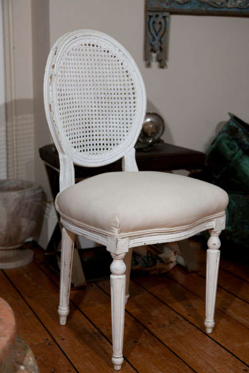 Wood Six Louis XVI Style Painted Dining Chairs with Caned Backs For Sale