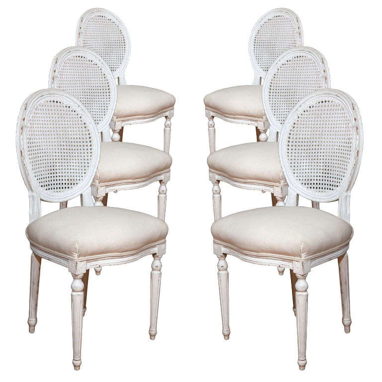 Six Louis XVI Style Painted Dining Chairs with Caned Backs For Sale