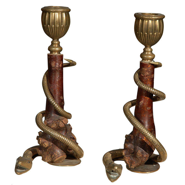 Pair Antique Writing Snake Candlesticks For Sale At 1stdibs
