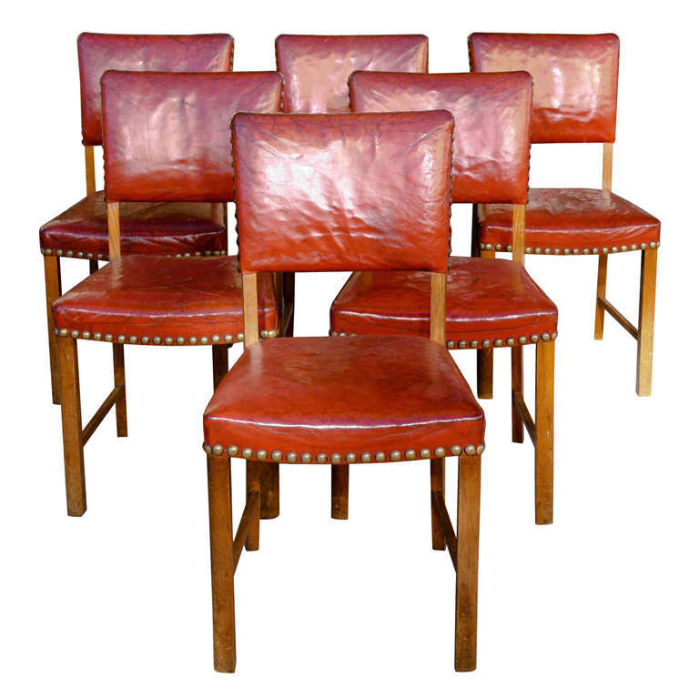 Set of 6 red leather dining chairs at 1stdibs for Red dining room chairs