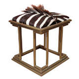 Art Deco Brass and Zebra Skin Stool