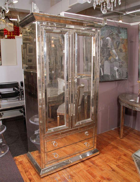 Mid Century Mirrored Armoire / Wardrobed at 1stdibs