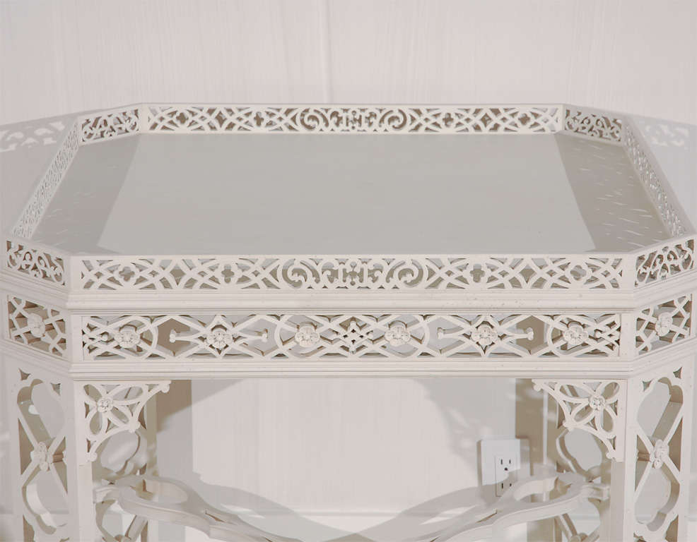 Carved George the III Chinese Chippendale Style Center Table