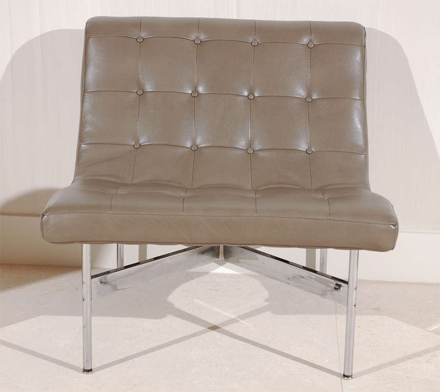 American Pair of Gray Leather Laverne Chairs