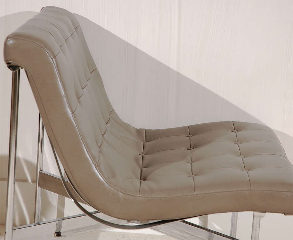 Pair of Gray Leather Laverne Chairs 2