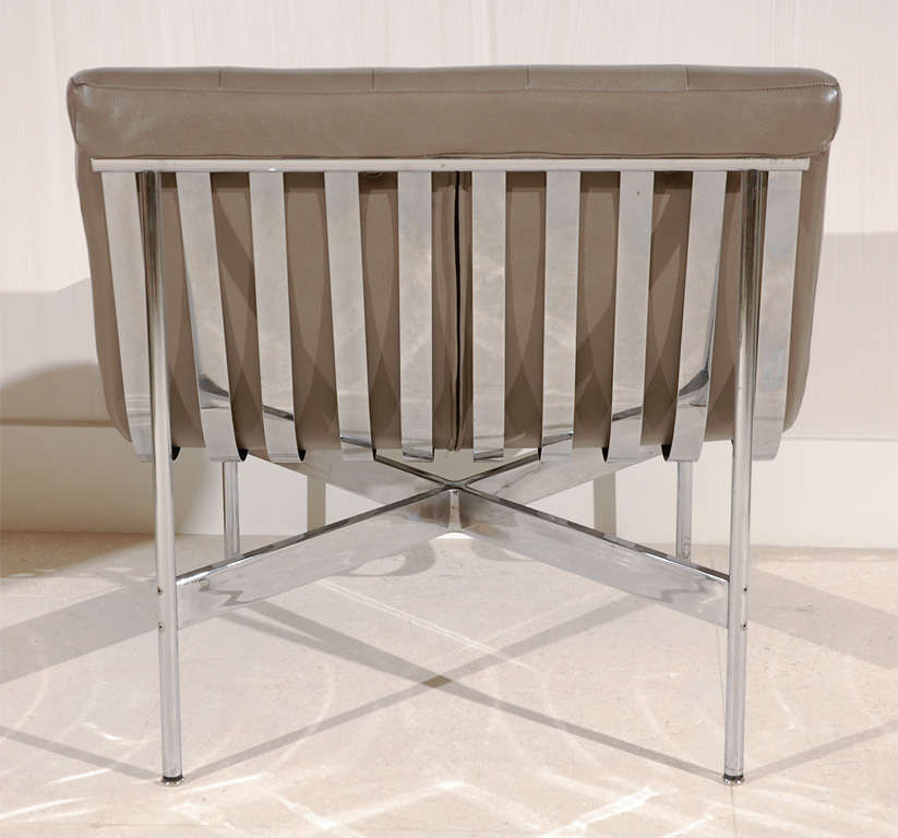 Pair of Gray Leather Laverne Chairs 3