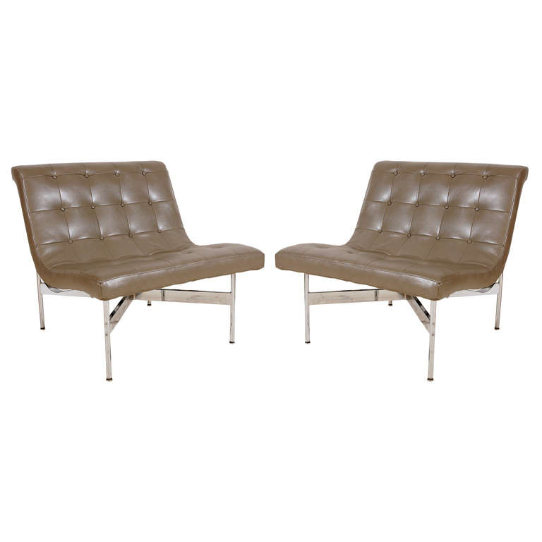 Pair of Gray Leather Laverne Chairs