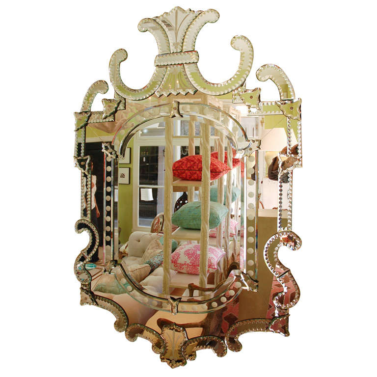 Large Whimsical Shaped Venetian Style Mirror At 1stdibs
