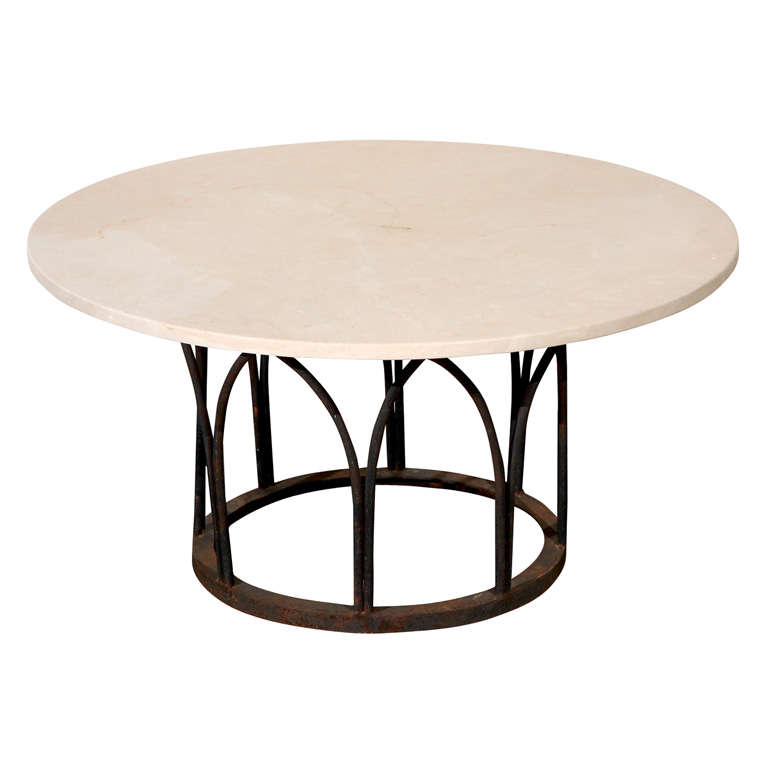 Limestone top coffee table with black painted wrought iron base at 1stdibs Wrought iron coffee table bases