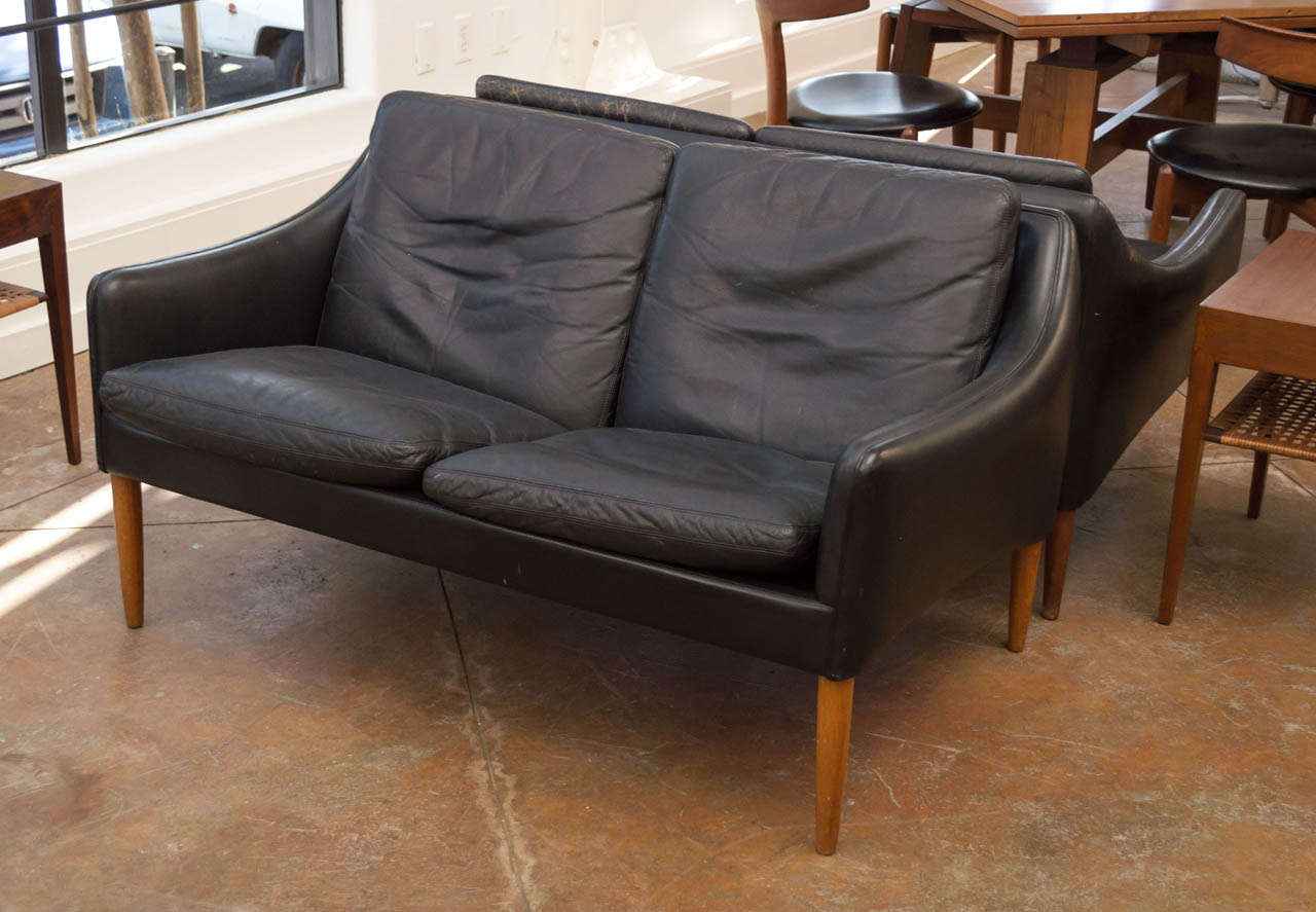 Mid-Century Modern Hans Olsen - Leather Two Seater Sofa For Sale