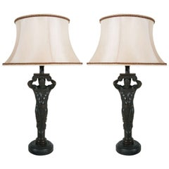 Two, Atlantid-Style Figural Lamps