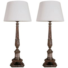 Italian Silver Gilt Candlestick Lamps