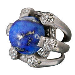 Early 20th Century German Ring with Marcasite and Lapis