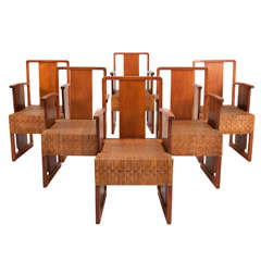 Set of 6 Art Deco Arm Chairs with Cubistic Cane Seats