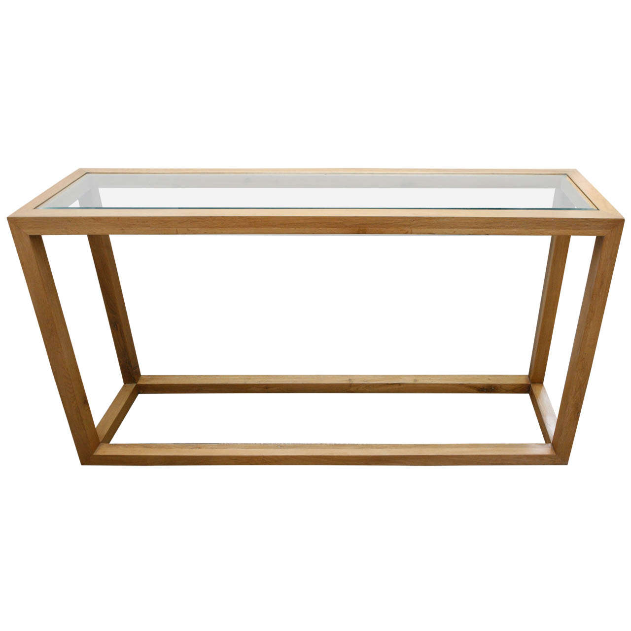 Glass and oak console table at 1stdibs for Sofa table glass