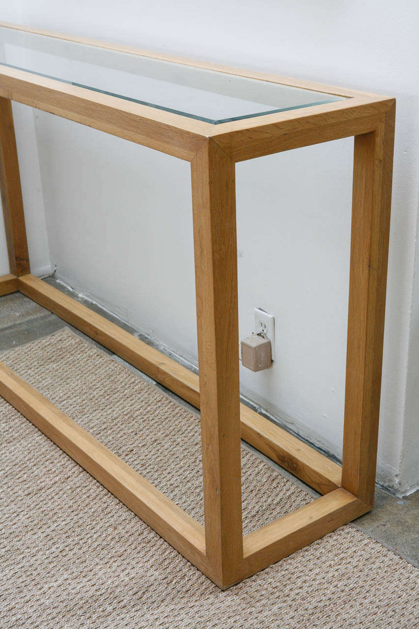 Glass And Oak Console Table At 1stdibs