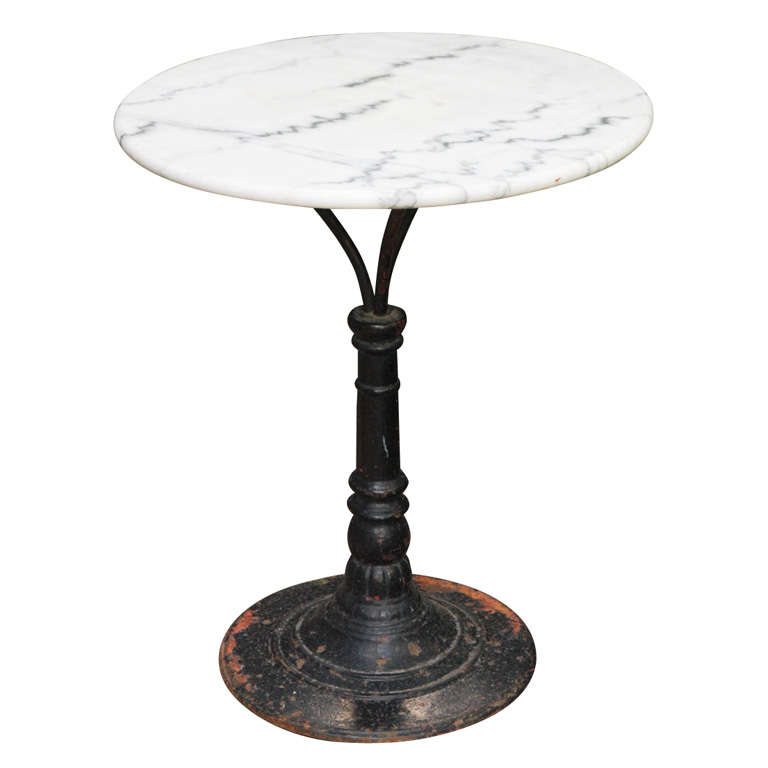 French Belle Epoque Cast Iron Bistro Table With Marble Top For Sale