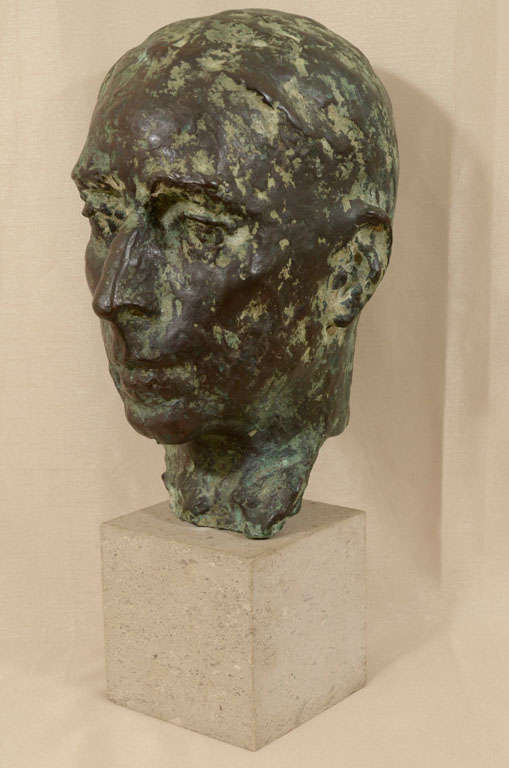 Cast bronze bust by Sydney Harpley In Excellent Condition For Sale In New York, NY