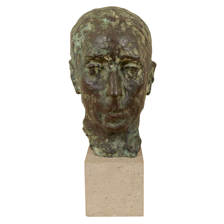 Cast bronze bust by Sydney Harpley For Sale