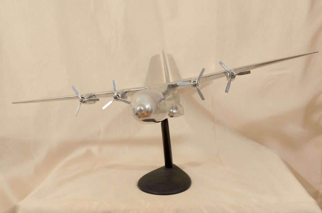 Mid-20th Century Polished Aluminum Douglas C-133 Cargomaster Model Airplane For Sale