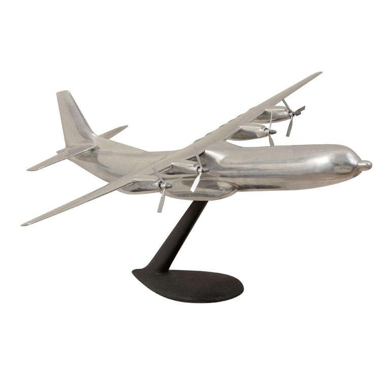 Polished Aluminum Douglas C-133 Cargomaster Model Airplane