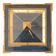 Jaeger-LeCoultre Gilt Brass and Faux Lapis Pyramid Desk Clock