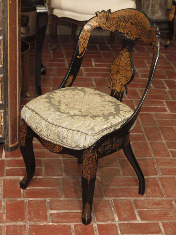 BEAUTIFUL EXAMPLES OF AMERICAN PAPIER<br /> MACHE CHAIRS.  tHE SEATS MAY BE THE ORIGGINAL CANING AND ARE IN EXCELLENT CONDITION