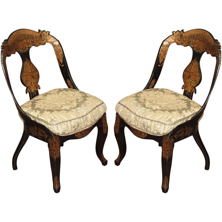 Pr Of Early Papier Mache Chairs