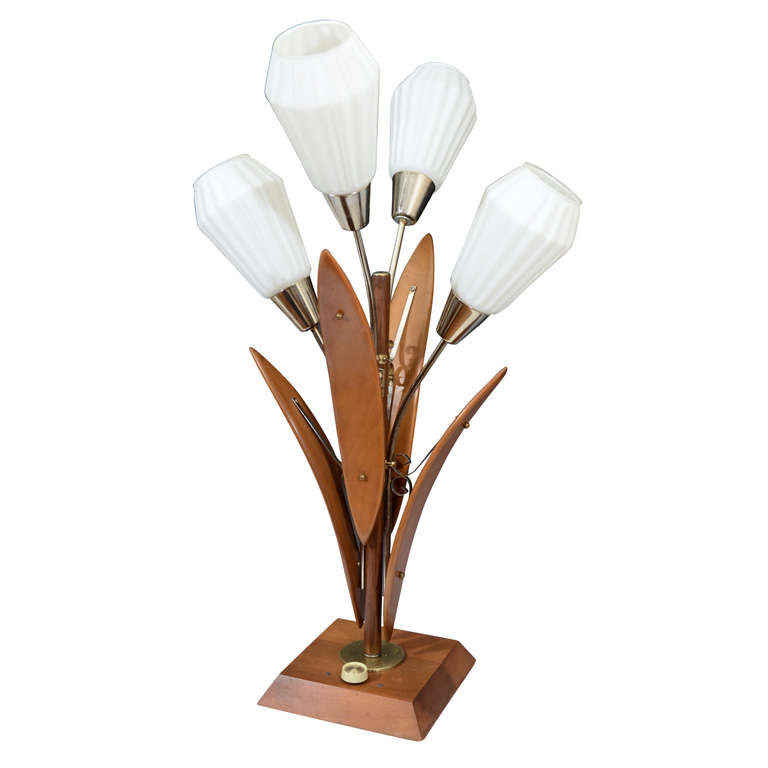 Mid Century Flower Form Wood And Br Table Lamp For