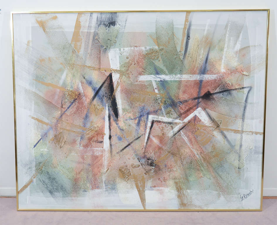 Vintage Textured Abstract Painting By Lee Reynolds For Sale